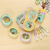 5pcs cartoon kids bamboo fiber tableware set children dinnerware set feeding bowl for baby