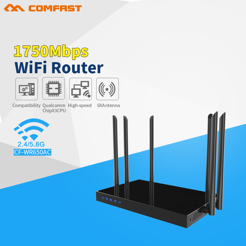Comfast 1750Mbps 2.4G+5.8 Dual Band WIFI Router Repeater roteador Wi-Fi CF-WR650AC 802.11ac Router 6PA+6 WIFI Antenna open ddwrt comfast cf wr750v2 dual band 750mbps wifi repeater roteador 802 11ac wireless router 2 4 5 8ghz long rang wi fi signal amplifier