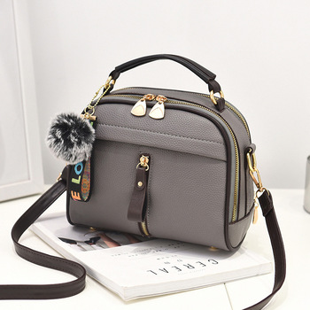 Gray Leather Ball Toy Bag