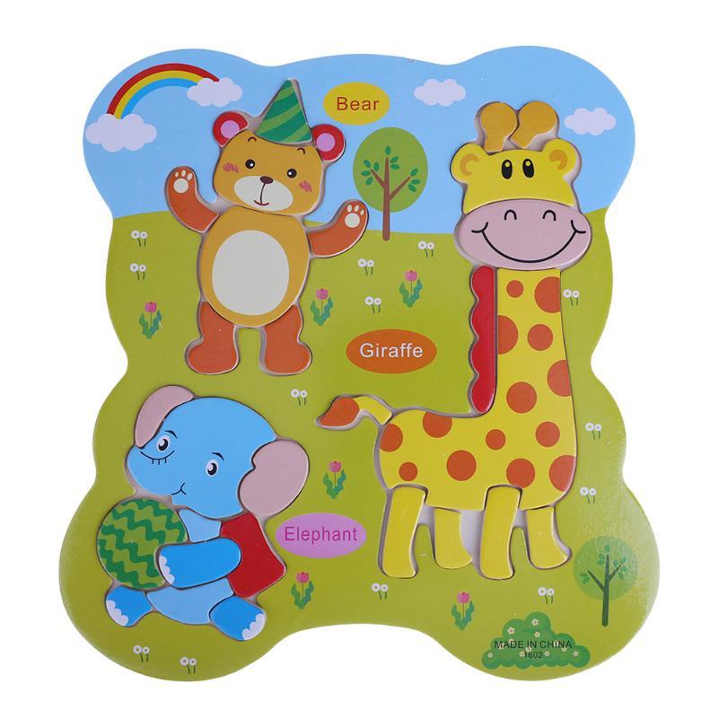 Монтессори дети 3D деревянные головоломки Игрушечные лошадки Животные domino головоломки соответствующие Solitaire для обучения Раннее Образован...