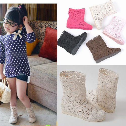 Free shipping Summer cutout cool boots female child boots hole  boots single  knitted parent-child at the same time wear