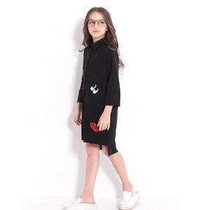 Image 4 - فستان بناتي للأطفال المراهقات فستان شيفون أسود غير رسمي للخريف بأكمام طويلة مطرز بالترتر للأطفال ملابس للبنات 8 10 12 سنة