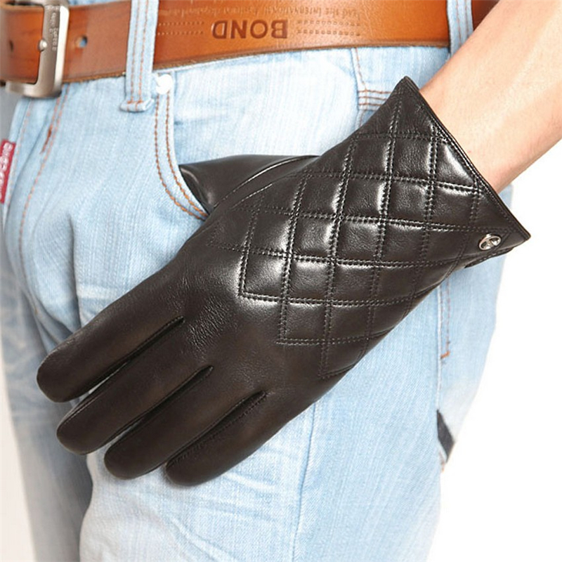 Business Men Genuine Leather Gloves High Quality Goatskin Glove Autumn Winter Thermal Fashion Driving Gloves EM013NQF