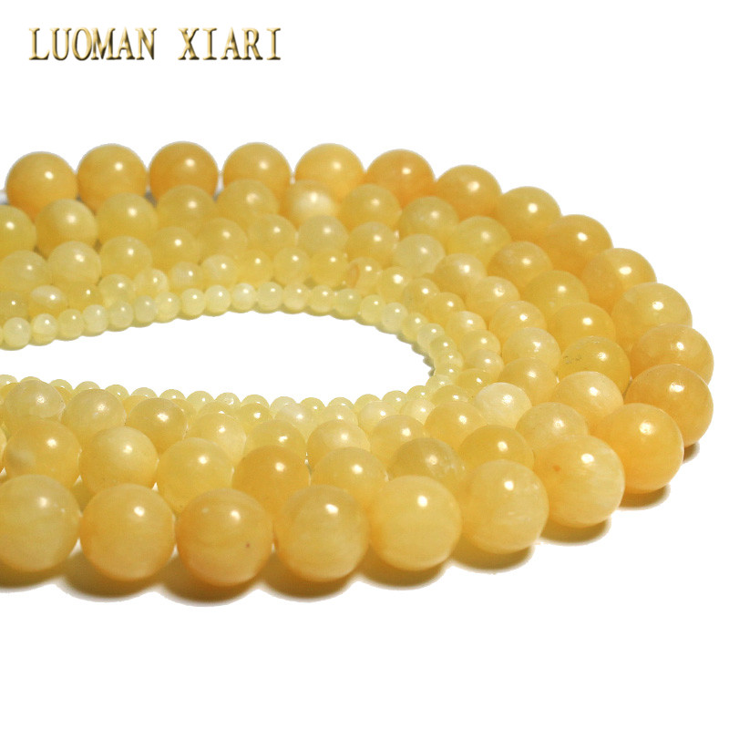 Wholesale Round Shape Yellow Jades Natural Stone Beads For Jewelry Making Diy Bracelet  Necklace  4/6/8/10/12 Mm Strand 15''