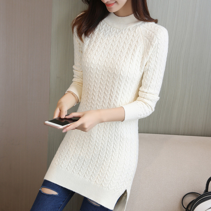 c4a1a5713f3d R$ 51.35 41% de desconto|Nova Moda 2019 Mulheres Outono Inverno Pullovers  Camisola Vestido Longo Casual Feminino Quente Blusas de Malha Pullover ...