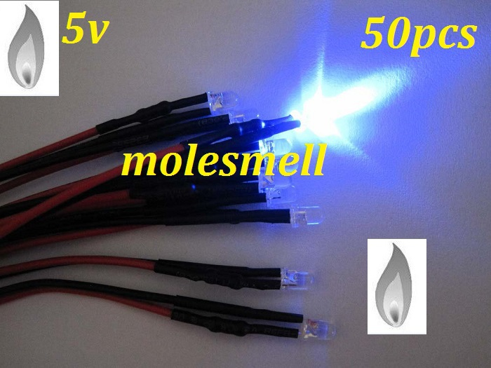 Free Shipping 50pcs 3mm Blue Flicker 5V Pre-Wired Water Clear LED Leds Candle Light 20CM