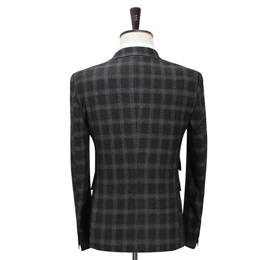 veste D affaires Costume 3 Pièces Pantalon 4xl Noir Costumes Double 5xl  Breasted Mode Treillis Black Nouveau Hommes ... 7fdccec631c