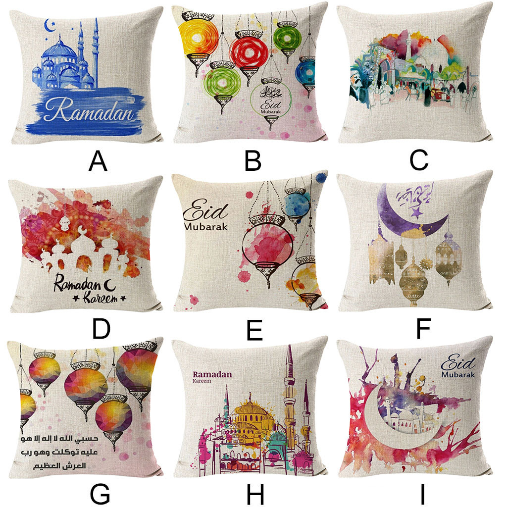 Image 5 - Ramadan Festival Linen Pillowcase Comfortable Sofa Cushion Set Home Decoration Cover Home Party Hotel Textile 45cm*45cm Hot 2019-in Cushion Cover from Home & Garden