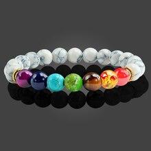 Pulseras de cuentas de piedra de Lava para hombre y mujer, pulsera de 7 Chakras, cuentas sanadoras equilibrio, brazalete de Reiki para oración de Buda, regalo de joyería