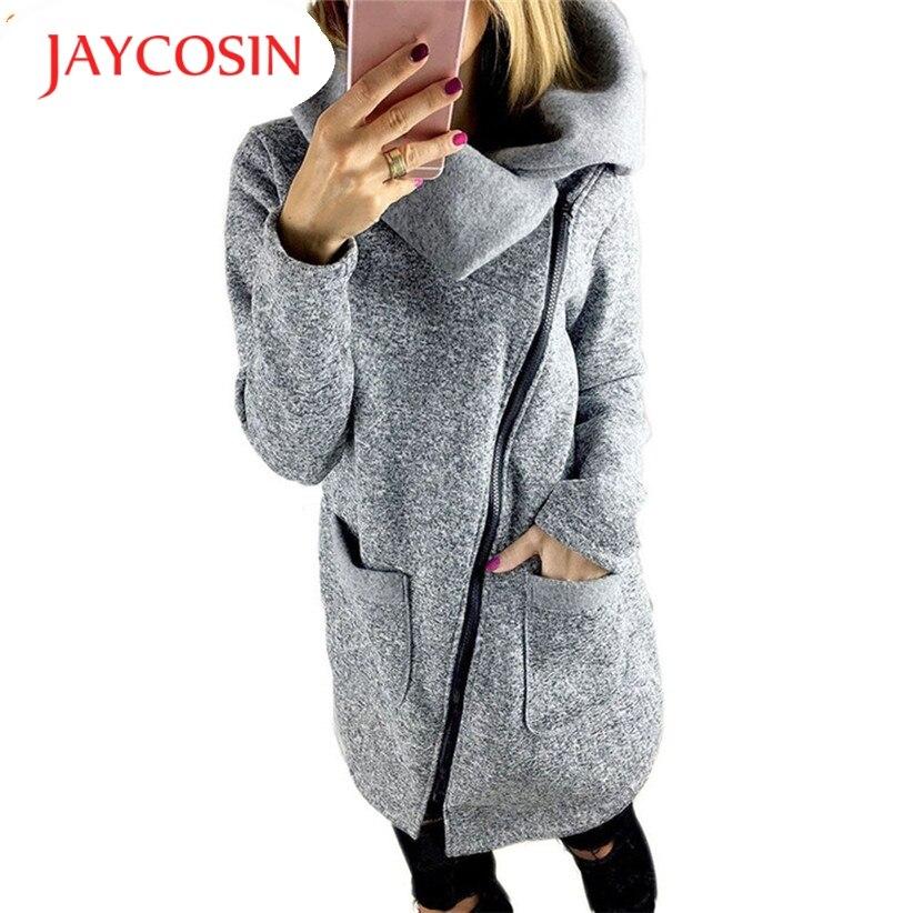 JAYCOSIN New Fashion Womens Casual Winter Gray Jacket Coat Long Zipper Pocket Sweatshirt Outwear Tops 161031