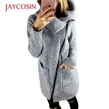 Jaycosin новые модные женские Повседневное зима серый пиджак пальто длинные карман на молнии Толстовка пиджаки Топы 161031 Прямая доставка