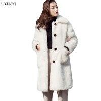LXUNYI женское длинное меховое пальто на пуговицах с длинным рукавом модное однотонное свободное повседневное искусственное меховое плюшево