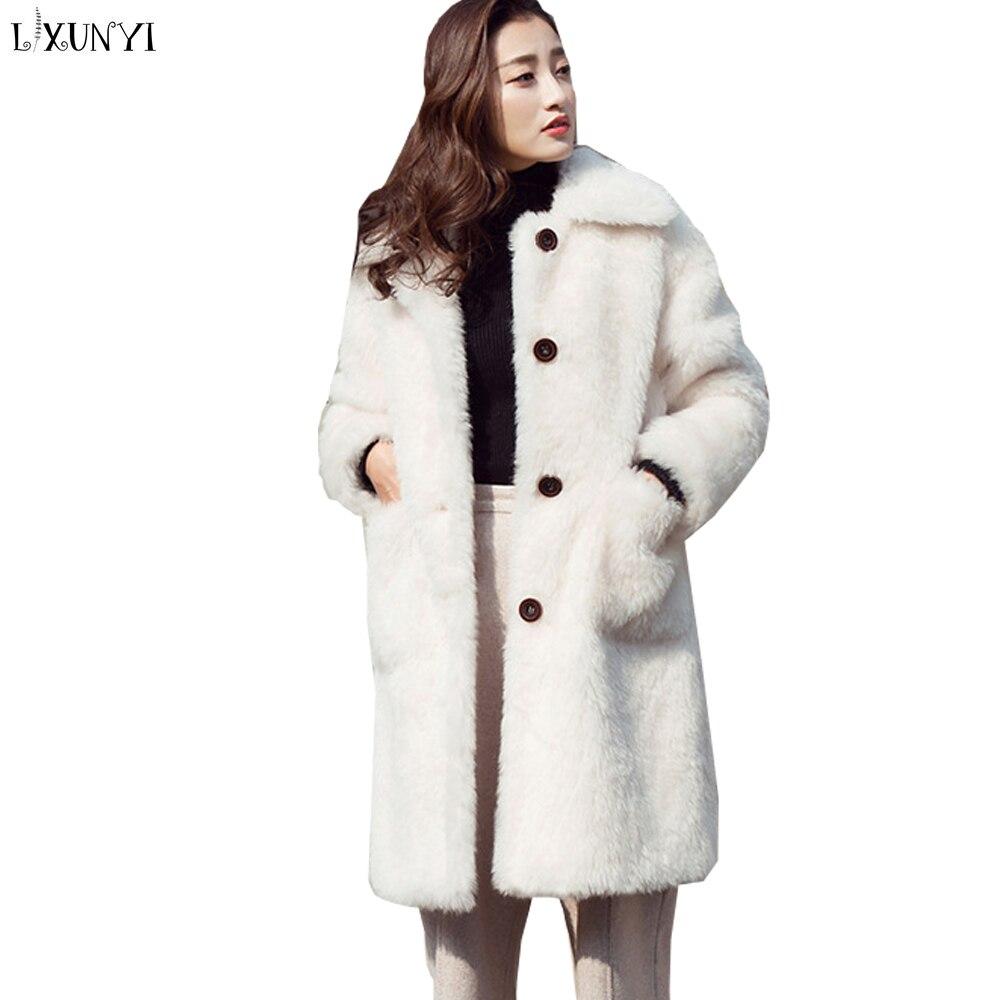 Peluche Chaud Blanc Manteaux Vestes Solides Manches Longues En Mode Bouton Lxunyi Manteau Femmes Vrac Longue Fourrure Casual De Fausse Agneau 1wtqOZH