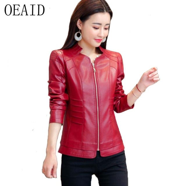 67a085bc16b OEAID Plus Size Women Leather Jacket Spring 2018 New Leather Coat Women  Short Slim Motorcycle Clothing Female Outerwear Black