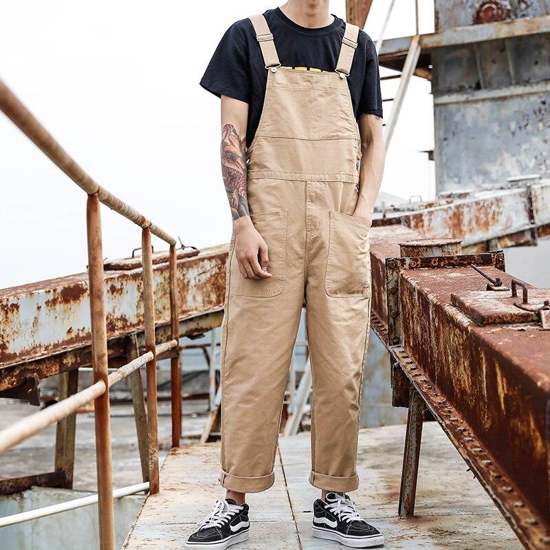 Punk Style Hommes Lâche Salopette Salopette Hommes One Piece Salopette Hip Hop Pantalon à Bretelles Mâle Casual Ensemble avec de Grandes Poches