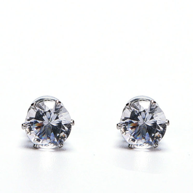 1pc Mens Silver Round Crystal Magnetic Earrings Non Pierced Clip on Ear Stud 6mm