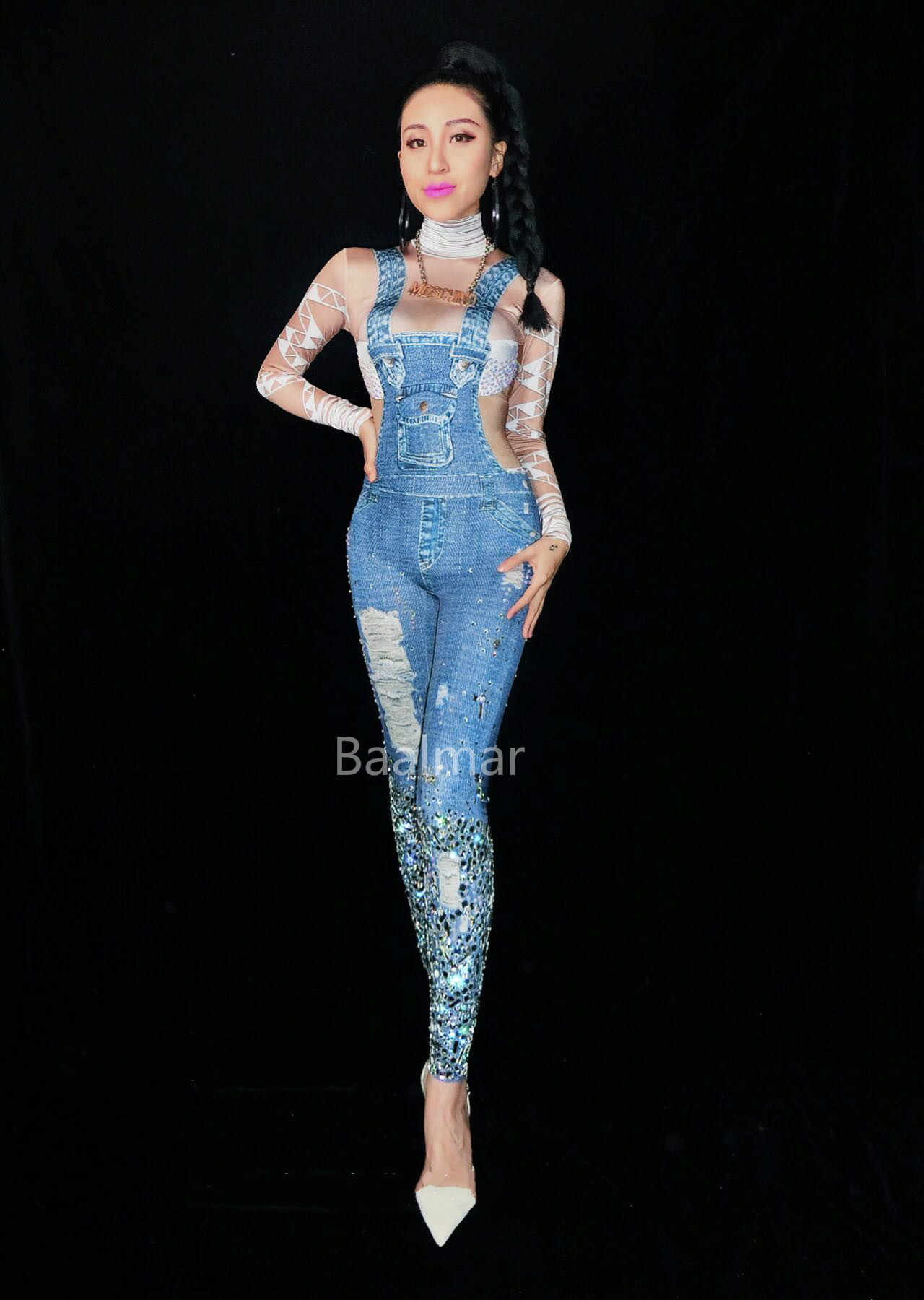 fb7e5ee46d Detail Feedback Questions about Nightclub Jeans Rhinestones Jumpsuit Sexy  Denim Printed Costume Women s Party Sexy Sequins Bodysuit Rompers Female  Prom ...