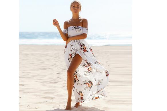 Femmes 1 Livraison Boho Imprimé 3 2 En Robe Off Style Fedex Longue Rapide Gratuite Floral De Pcs lot Épaule Soie Plage 30 D'été Mousseline wxI1YqvAZ