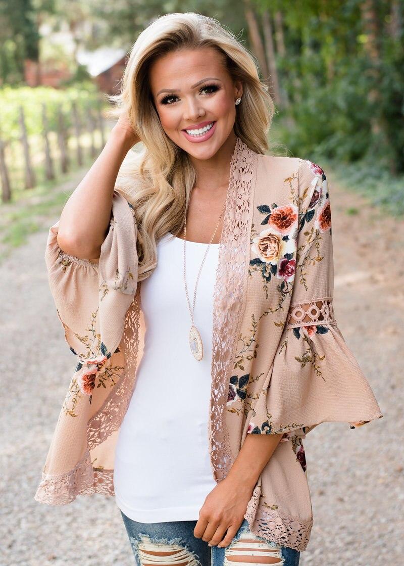 HTB1W5WYkYZnBKNjSZFKq6AGOVXar Women Plus Size Loose Casual Basic Jackets Female 2018 Autumn Long Flare Sleeve Floral Print Outwear Coat Open Stitch Clothing