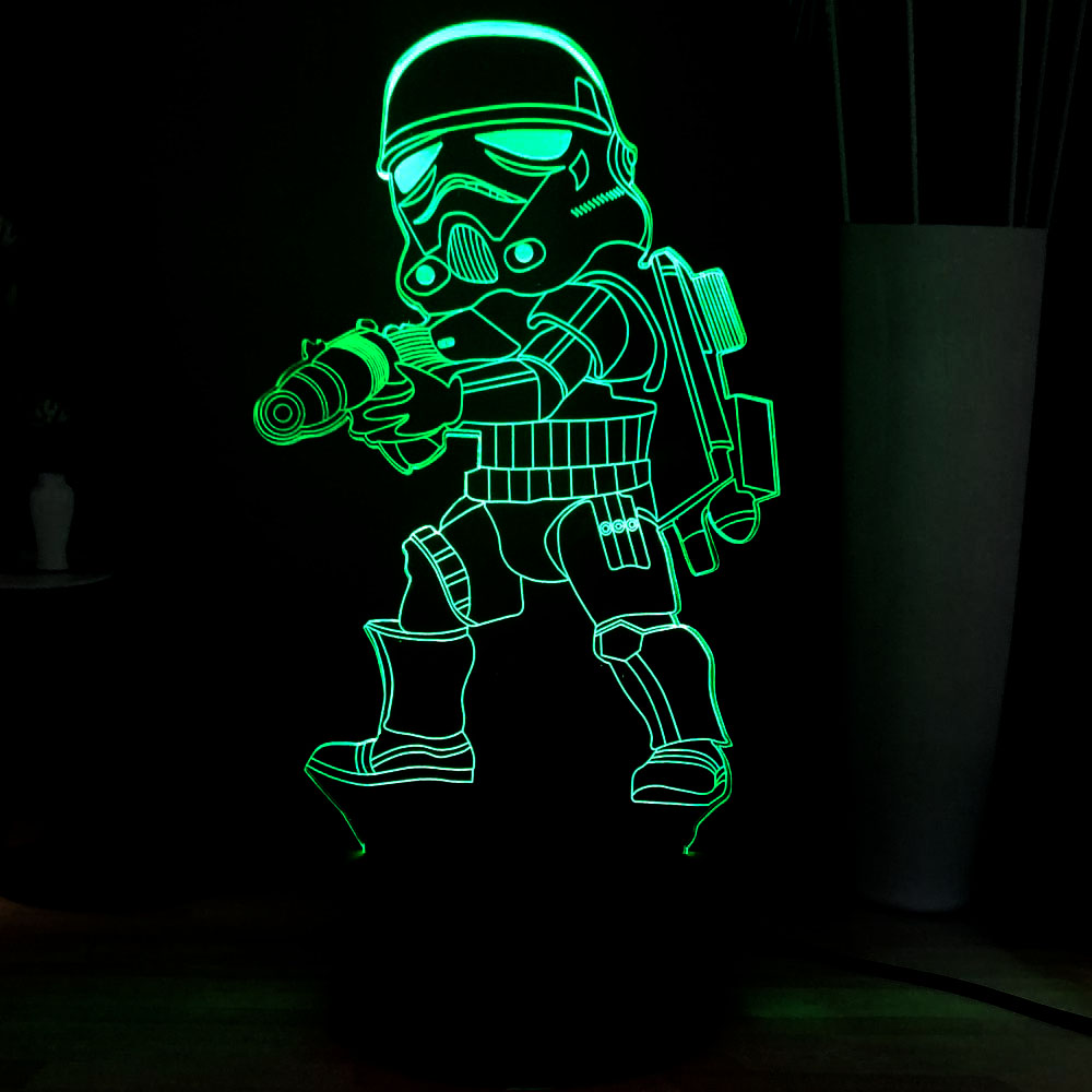 New Star Wars Series 3D Acrylic Storm troops 7 Color Change LED Novel Dec Atmosphere USB Touch Table Mood Light Kids Toys Gifts image