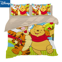 yellow winnie the pooh comforter bedding sets for kids single quee size bed duvet covers 3pcs bedspread boys bedroom decor 4pcs