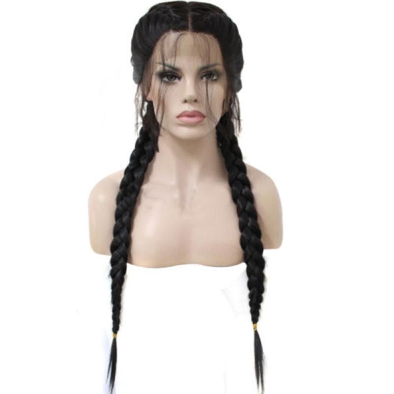 Womens Fashion SyntheticHair Braided Double Lace Front Wig Long Black Wigs 0703