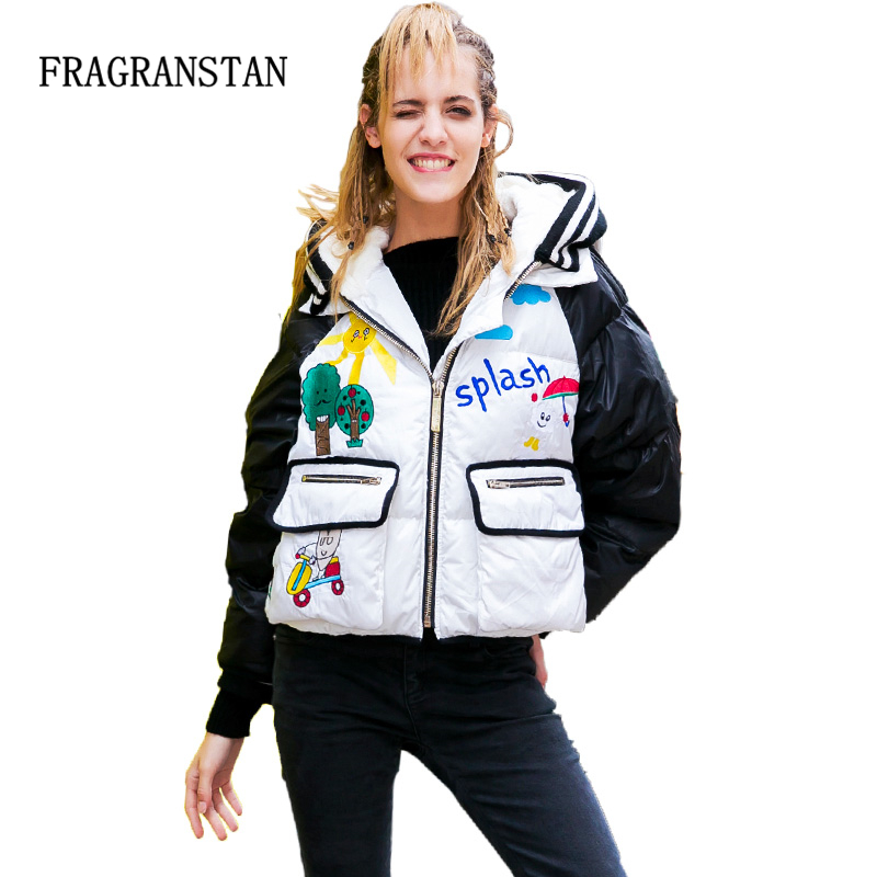 New Winter Women Thicken Hooded Real Fur Collar Short Down Jacket Cartoon Embroidery Fashion Warm European