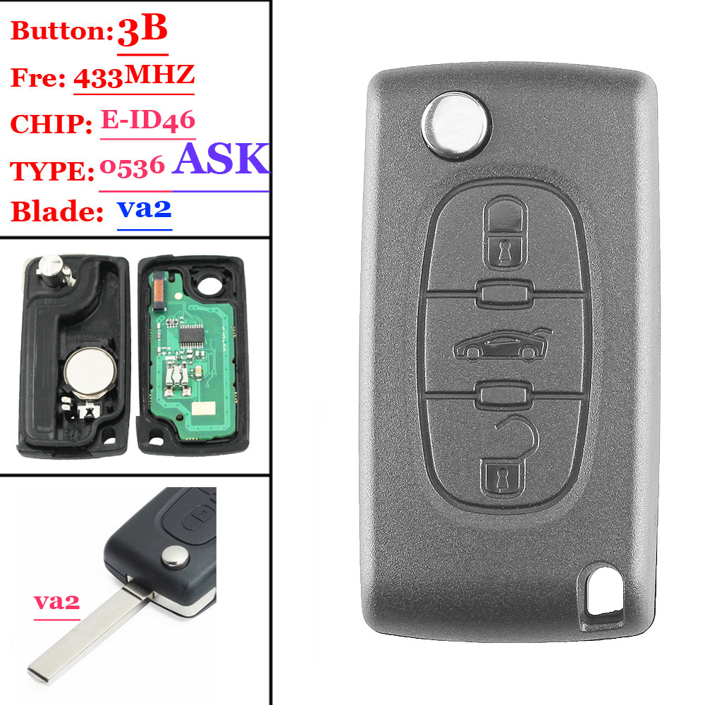 Free shiping(1piece )<font><b>0536</b></font> Type ASK 3 Button Flip Remote Key 433mhz electronic 46 chip VA2 407 blade for <font><b>Peugeot</b></font> key image