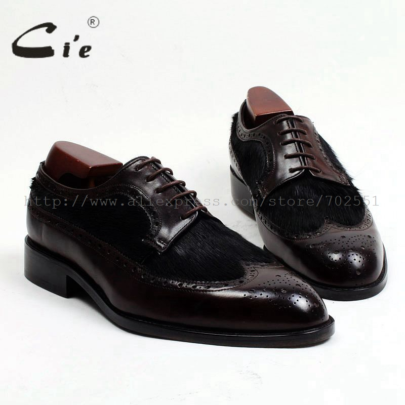cie Round Toe Bespoke Custom Handmade Horse Hair Match Pure Genuine Calf Leather Outsole Men's Lacing Derby Casual Shoe FlatD145
