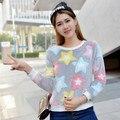 2016 Mujeres del Otoño Camiseta Ocasional Del O-cuello de Manga Larga Fleece Pullover Tops Chicas Lindas Patrones Geométricos Estrella Camisa de Camuflaje