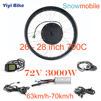 72V 3000W Electric Snow Bike DC Controller Brushless Motor Controller Conversion Kit 26 28 inch 700C Motor Wheel Snowmobile