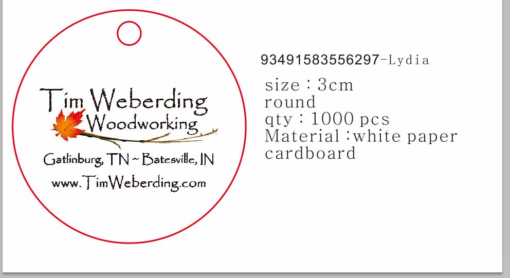 Custom Logo Made Cardboard White Paper Print Black Letter 3cm Round Shape Products Gift Hang Tag 50000pcs Beads & Jewelry Making Lot