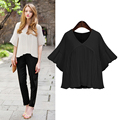 2016 fashion women chiffon blouse solid color round collar lotus sleeve female blouse European style plus size women top 186J 25