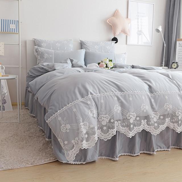 Pink Grey Blue Purple Beige Single Double Bedding Set