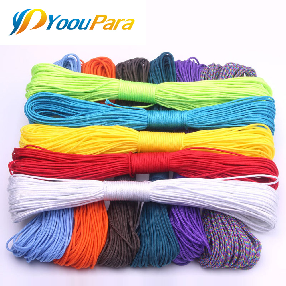 100 couleurs Paracord 2mm 100 pi, 50FT un support noyaux Paracord corde Paracorde cordon pour la fabrication de bijoux en gros