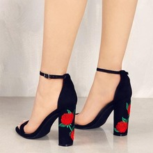 Embroidery Peep Toe Heels Female Ankle Strap High Heel Shoes Woman Gladiator Sandals Black Thick Heels Women Party Wedding Pumps newst high heel shoes sky blue velvet ankle strap woman dress shoes crystal embellished wedding heels thick heels pumps