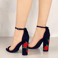 Embroidery Peep Toe Heels Female Ankle Strap High Heel Shoes Woman Gladiator Sandals Black Thick Heels Women Party Wedding Pumps