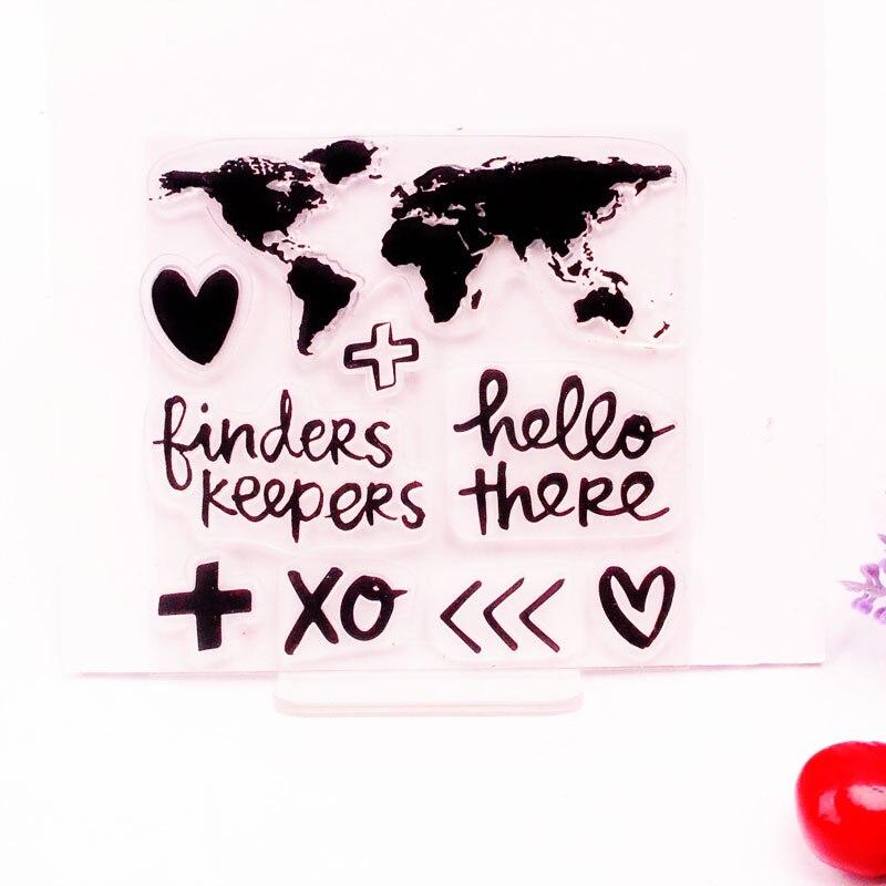 DECORA 1PCS XOXO World Map Love Design Silicone Transparent Clear Stamp DIY Scrapbooking Christmas Decoration Supplies