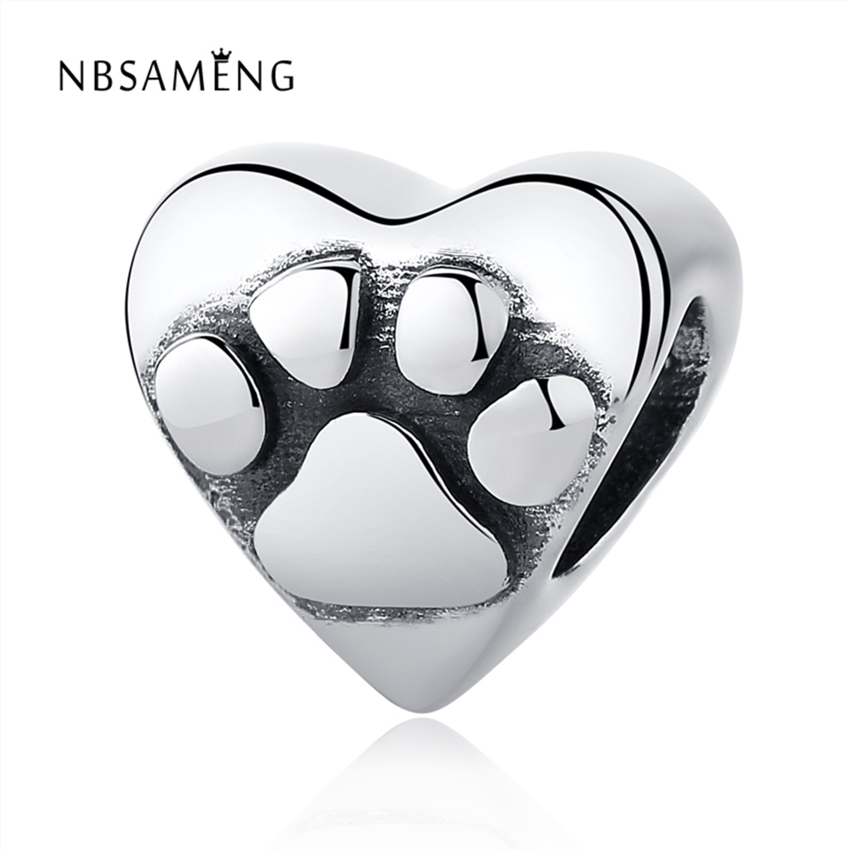 Authentic 100% 925 Sterling Silver Bead Lovely Dog Footprints DIY Bead Fit Pandora Charm Bracelets & Bangles Necklaces Jewelry