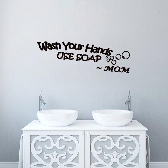Mencuci Tangan Anda Menggunakan Sabun Ibu Stiker Dinding Seni Dekorasi Tahan Air Wallpaper Untuk R