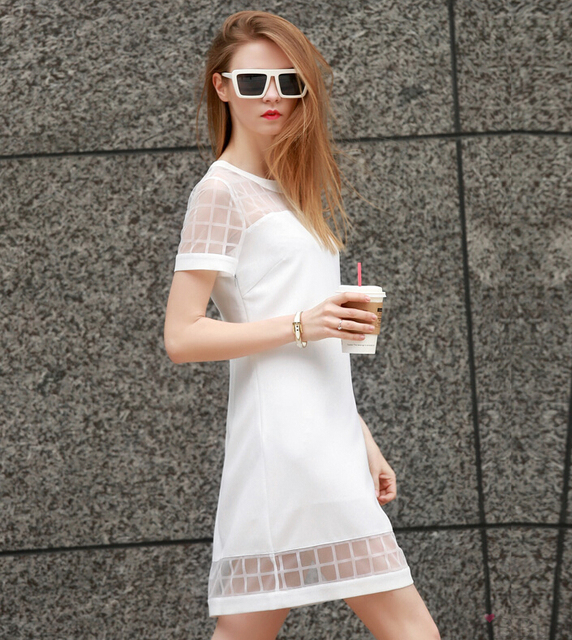 2015 Hot White Girls Dress Short Sleeve Women Summer Autumn Sexy Fashion Dress Office Lady Working