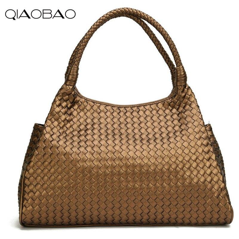 QIAOBAO portefeuille cadeau sac marque deux couleurs tricot qualité cuir femmes sac à main Vintage grande capacité fait main tissage Totes