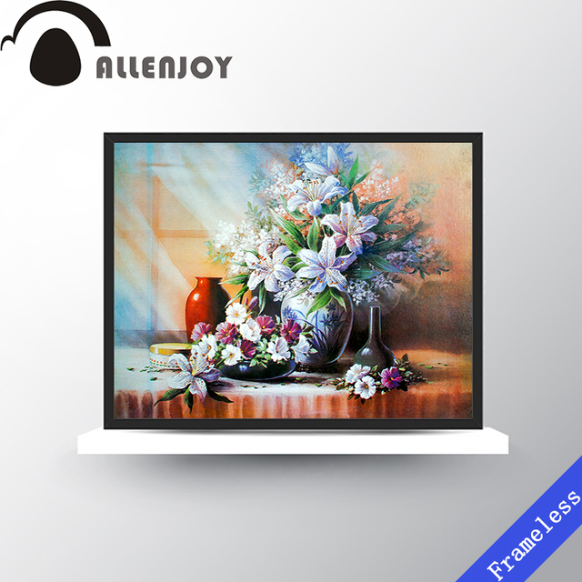 Blooming Flowers On Dining Table Canvas Art Print Poster Wall Pictures Oil Painting Home Bedroom Decoration