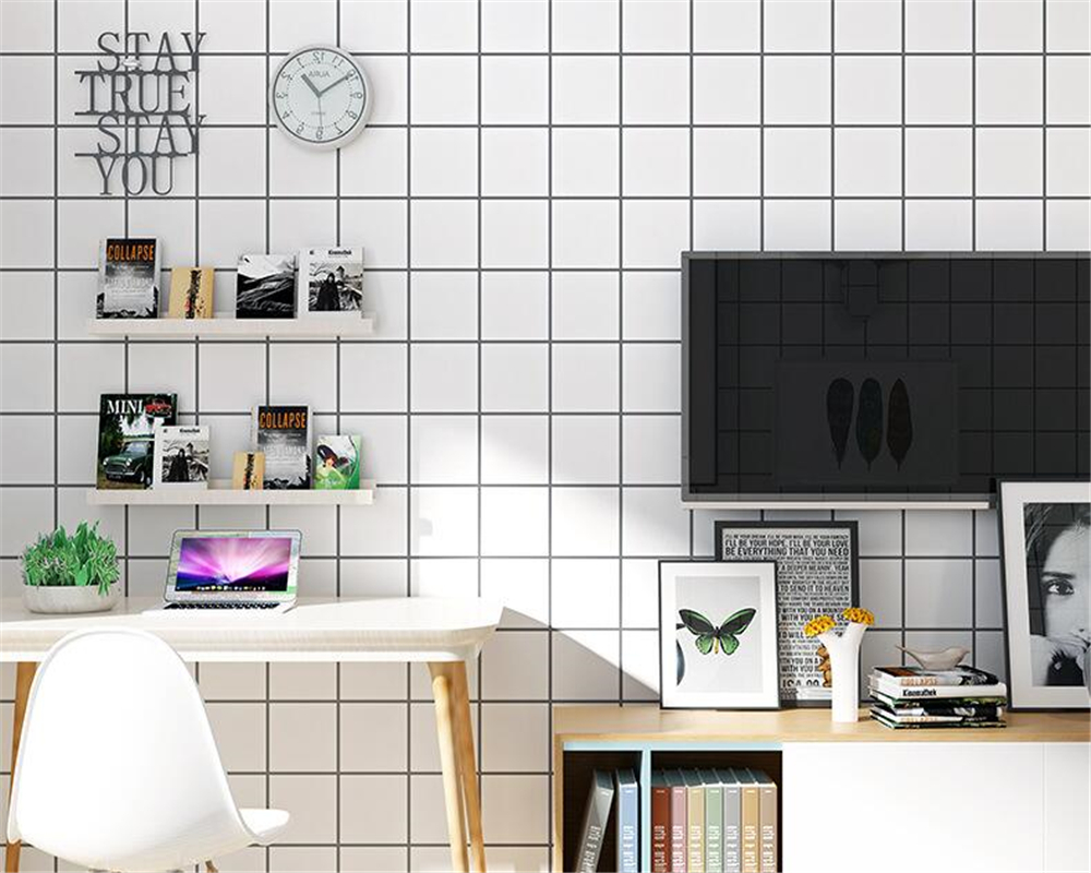 beibehang Nordic minimalist black and white grid squares wallpaper ...
