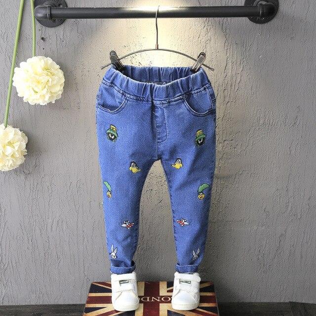 Новое Прибытие Детские Девушки джинсы девушки эластичный пояс вышивка джинсы девушки весна осень длинные брюки для Детей мальчиков брюки