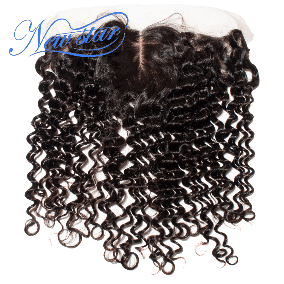 Brazilian Center Silk Frontals Deep Wave New Star Hair Pre-Plucked Hairline Closures Bleached Knots 100% Virgin Human Hair