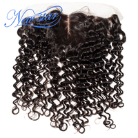 Brazilian Center Silk Frontals Deep Wave New Star Hair Pre Plucked Hairline Closures Bleached Knots 100% Virgin Human Hair