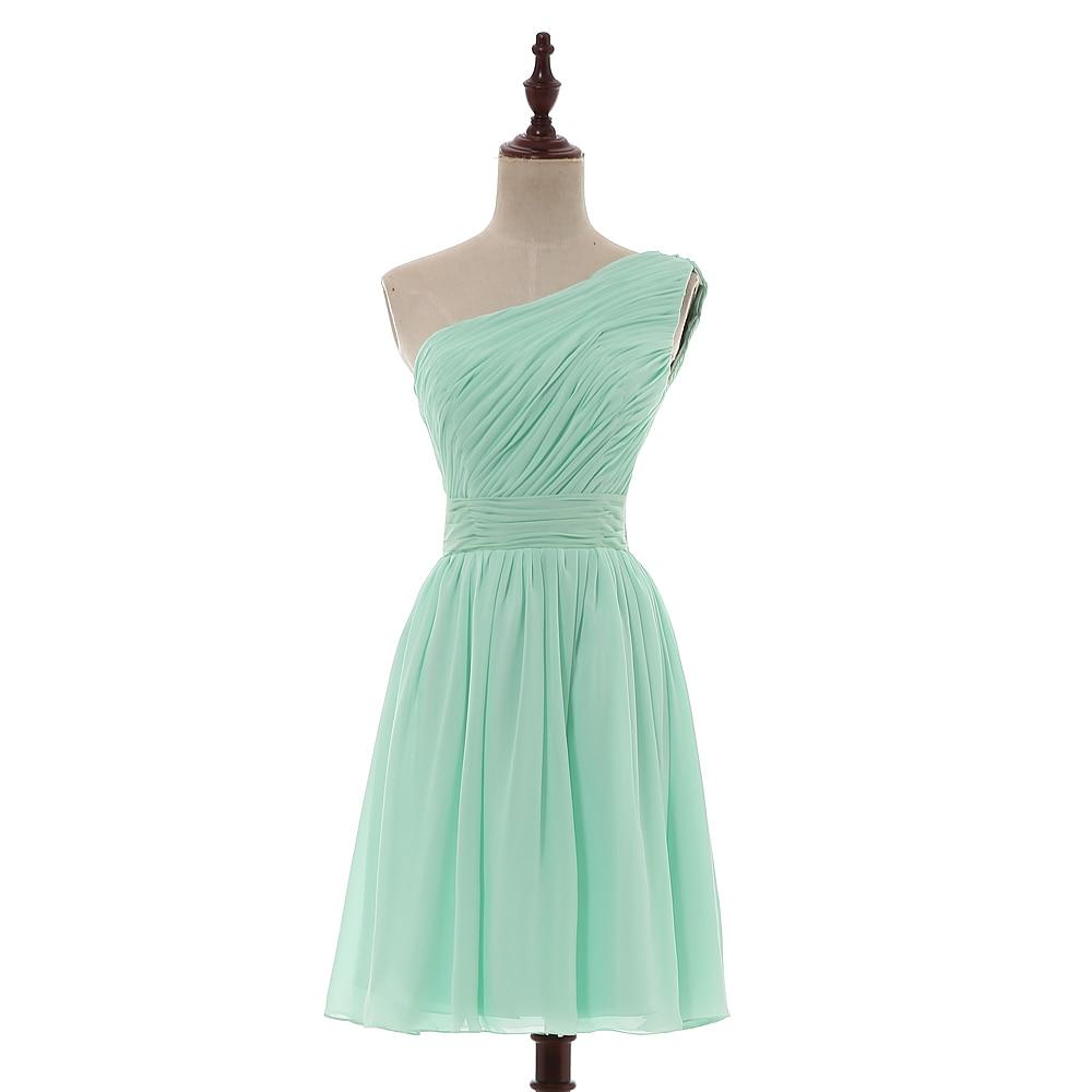 AXJFU robe de demoiselle d'honneur plissée en mousseline de soie vert menthe princesse vert col en v sans manches courte robes de demoiselle d'honneur 100% vraies photos - 6