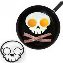 Kitchen Cooking Tool Skeleton Silicone Rubber Egg Mold Non-stick Skull Eggs Fried Frying Mold Pancake Egg Ring Shaper Mold F0117