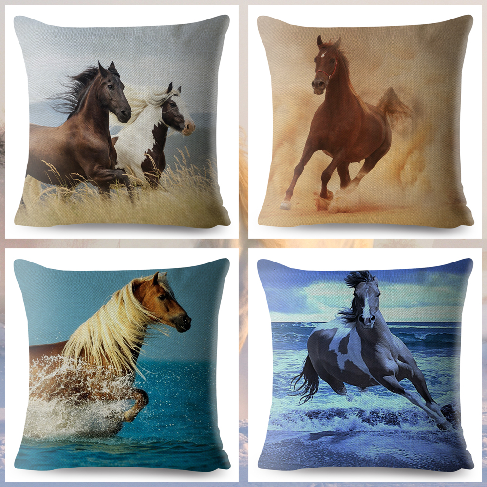 Decoration Animal Running Horse Print Throw Pillow Cover 45*45cm Square Cushion Covers Linen Pillows Cases Sofa Home Pillow Case